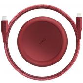 Cablu Date si Incarcare USB la USB Type-C UNIQ Halo, 3A, Cu Organizator, 1.2 m, Rosu