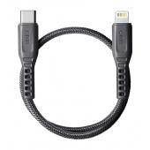 Cablu Date si Incarcare USB Type-C la Lightning UNIQ Flex, 3A, 0.3 m, Gri, Blister