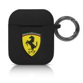 Husa TPU Ferrari Scuderia pentru Apple Airpods Gen 1 / 2, Neagra, Blister FESACCSILSHBK