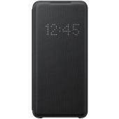 Husa Textil Samsung Galaxy S20 G980 / Samsung Galaxy S20 5G G981, Led View, Neagra, Blister EF-NG980PBEGEU