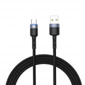 Cablu Date si Incarcare USB la USB Type-C Tellur LED, 3A, 1.2 m, Negru TLL155363
