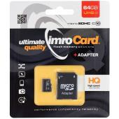 Card Memorie MicroSDXC Imro cu adaptor, 64Gb, Clasa 10 - UHS-1 U1, Blister MicroSD10/64GADPUHS