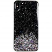 Husa TPU WZK Star Glitter Shining pentru Apple iPhone 11 Pro Max, Neagra, Blister