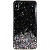 Husa TPU WZK Star Glitter Shining pentru Apple iPhone 7 / Apple iPhone 8 / Apple iPhone SE (2020), Neagra, Blister