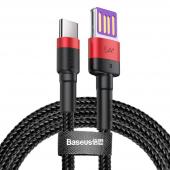 Cablu Date si Incarcare USB la USB Type-C Baseus Cafule, Quick Charge, 40W, 1 m, Negru - Rosu, Blister CATKLF-P91