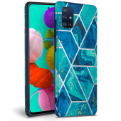 Husa TPU TECH-PROTECT MARBLE pentru Samsung Galaxy A51 A515, Albastra, Blister