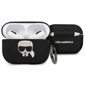 Husa TPU Karl Lagerfeld pentru Apple Airpods Pro, Neagra KLACAPSILGLBK