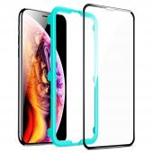 Folie Protectie Ecran ESR pentru Apple iPhone 11 Pro Max, Sticla securizata, Full Face, Edge Glue, Shield 3D, Neagra, Blister