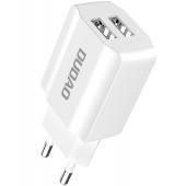 Incarcator Retea USB Dudao A2EU, 2.4A, 2 X USB, Alb