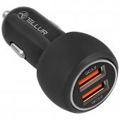 Incarcator Auto USB Tellur FCC8, 6A 36W (QC 3.0 + QC 3.0), 2 X USB, Negru, Blister  TLL151261