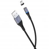 Cablu Date si Incarcare USB la USB Type-C XO Design NB125 Magnetic, 2A, 1 m, Negru, Blister