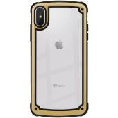 Husa Plastic - TPU OEM Solid Frame pentru Apple iPhone X / Apple iPhone XS, Aurie Transparenta, Bulk