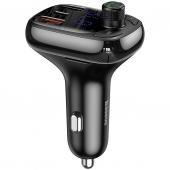 Modulator FM Bluetooth Baseus, MP3 Player, Buton de apel, USB Type-C, MicroSD, 5A, Negru, Blister CCTM-B01