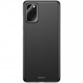 Husa Plastic Baseus Wing pentru Samsung Galaxy S20 Plus G985 / Samsung Galaxy S20 Plus 5G G986, Slim, Neagra, Blister WISAS20P-A01