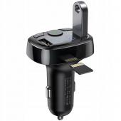 Modulator FM Bluetooth Baseus T-Typed, MP3 Player, Buton de apel, 2x USB, TF MicroSD, 3.4A, Negru CCTM-01