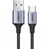 Cablu Date si Incarcare USB la USB Type-C UGREEN Quick Charge 3.0 3A, 0.5 m, Gri, Bulk