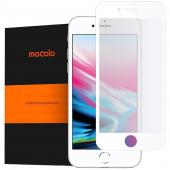 Folie Protectie Ecran Mocolo pentru Apple iPhone 7 / Apple iPhone 8 / Apple iPhone SE (2020), Sticla securizata, Full Face, Full Glue, 9H, 2.5D, Alba, Blister