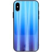 Husa TPU OEM Aurora cu spate din sticla pentru Huawei P Smart (2019), Albastra