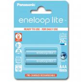 Set 2 x baterii reincarcabile Panasonic Eneloop Lite R03/AAA 550mAh,  Blister