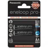 Set 2 x baterii reincarcabile Panasonic Eneloop Pro R6/AA 2450mAh,  Blister