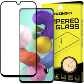 Folie Protectie Ecran WZK pentru Samsung Galaxy A51 A515, Sticla securizata, Full Face, Full Glue, Neagra, Blister