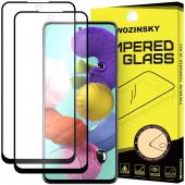 Folie Protectie Ecran WZK pentru Samsung Galaxy A51 A515, Sticla securizata, Full Face, Full Glue, Set 2Buc, Neagra