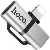 Adaptor Audio Lightning la Lightning cu port incarcare Lightning HOCO LS20, Argintiu, Blister