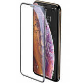 Folie Protectie Ecran Baseus pentru Apple iPhone X / Apple iPhone XS, Sticla securizata, Full Face, Full Glue, 3D, Neagra, Blister SGAPIPH58-WA01