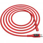 Cablu Date si Incarcare USB la Lightning HOCO S6 Sentinel, Afisaj Led, 2.4A, 1.2 m, Rosu, Blister
