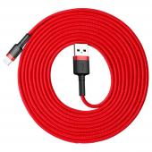 Cablu Date si Incarcare USB la Lightning Baseus Cafule, 2A, 3 m, Rosu CALKLF-R09