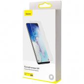 Folie Protectie Ecran Baseus pentru Samsung Galaxy S20 G980 / Samsung Galaxy S20 5G G981, Sticla securizata, Full Face, Set 2buc, 3D, 0.25mm, UV, Blister SGSAS20-UV02