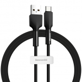 Cablu Date si Incarcare USB la USB Type-C Baseus Sillica Gel, 3A, 1 m, Negru, Blister CATGJ-01