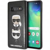 Husa Piele - Poliuretan Karl Lagerfeld pentru Samsung Galaxy S10 G973, Karl and Choupette, Neagra, Blister KLHCS10KICKCSBK