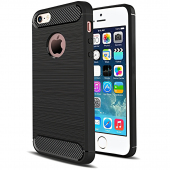 Husa TPU Forcell Carbon pentru Apple iPhone 5 / Apple iPhone 5s / Apple iPhone SE, Neagra