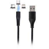 Cablu Incarcare USB - Lightning / USB Type-C / MicroUSB MaXlife Magnetic MXUC-02, Fast Charge, 3A, 1 m, Negru, Blister
