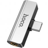 Adaptor Audio USB Type-C - USB Type-C / 3.5 mm HOCO LS26, Argintiu