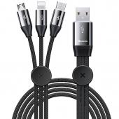Cablu Incarcare USB - Lightning / USB Type-C / MicroUSB Baseus, 3.5A, 1 m, Negru CAMLT-FX01
