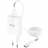 Incarcator Retea cu cablu USB Tip-C Dudao A3EU, 5V/2.4A QC3.0, 1 X USB, Alb, Blister