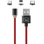 Cablu Incarcare USB - Lightning / USB Type-C / MicroUSB Usams Magnetic U-Sure US-SJ438, 1 m, Rosu