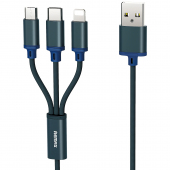Cablu Incarcare USB - Lightning / USB Type-C / MicroUSB Remax RC131th, 3in1 Gition, 1.15 m, Bleumarin