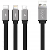 Cablu Incarcare USB - Lightning / USB Type-C / MicroUSB XO Design NB18, 3in1, 2.4A, 1.2 m, Negru, Blister