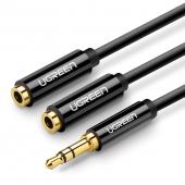 Adaptor Audio Splitter UGREEN Dual, 2 x 3.5mm, 0.25 m, Negru