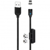 Cablu Incarcare USB - Lightning / USB Type-C / MicroUSB XO Design NB128 Magnetic 3in1, 2.4A, 1 m, Negru, Blister