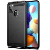 Husa TPU OEM Carbon pentru Samsung Galaxy A21s, Neagra, Bulk