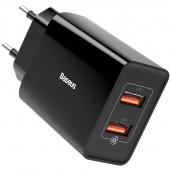 Incarcator Retea USB Baseus 18 W, 3A, 2 X USB, Negru, Blister CCFS-V01