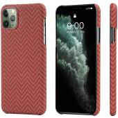 Husa Fibra Aramida Pitaka MagEZ pentru Apple iPhone 11 Pro, Car Case Magnet, Tesatura Dreptunghiulara (Herrignbone), Rosie Portocalie KI1107