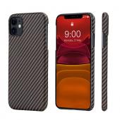 Husa Fibra Aramida Pitaka MagEZ pentru Apple iPhone 11, Car Case Magnet, Tesatura diagonala (Twill), Neagra Roz Auriu KI1106R