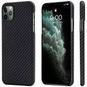 Husa Fibra Aramida Pitaka MagEZ pentru Apple iPhone 11 Pro Max, Car Case Magnet, Tesatura diagonala (Twill), Neagra Gri KI1101M