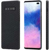 Husa Fibra Aramida Pitaka MagEZ pentru Samsung Galaxy S10+ G975, Car Case Magnet, Tesatura diagonala (Twill), Neagra Gri KS1001S