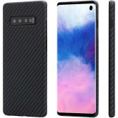Husa Fibra Aramida Pitaka MagEZ pentru Samsung Galaxy S10 G973, Car Case Magnet, Tesatura diagonala (Twill), Neagra Gri KS1001